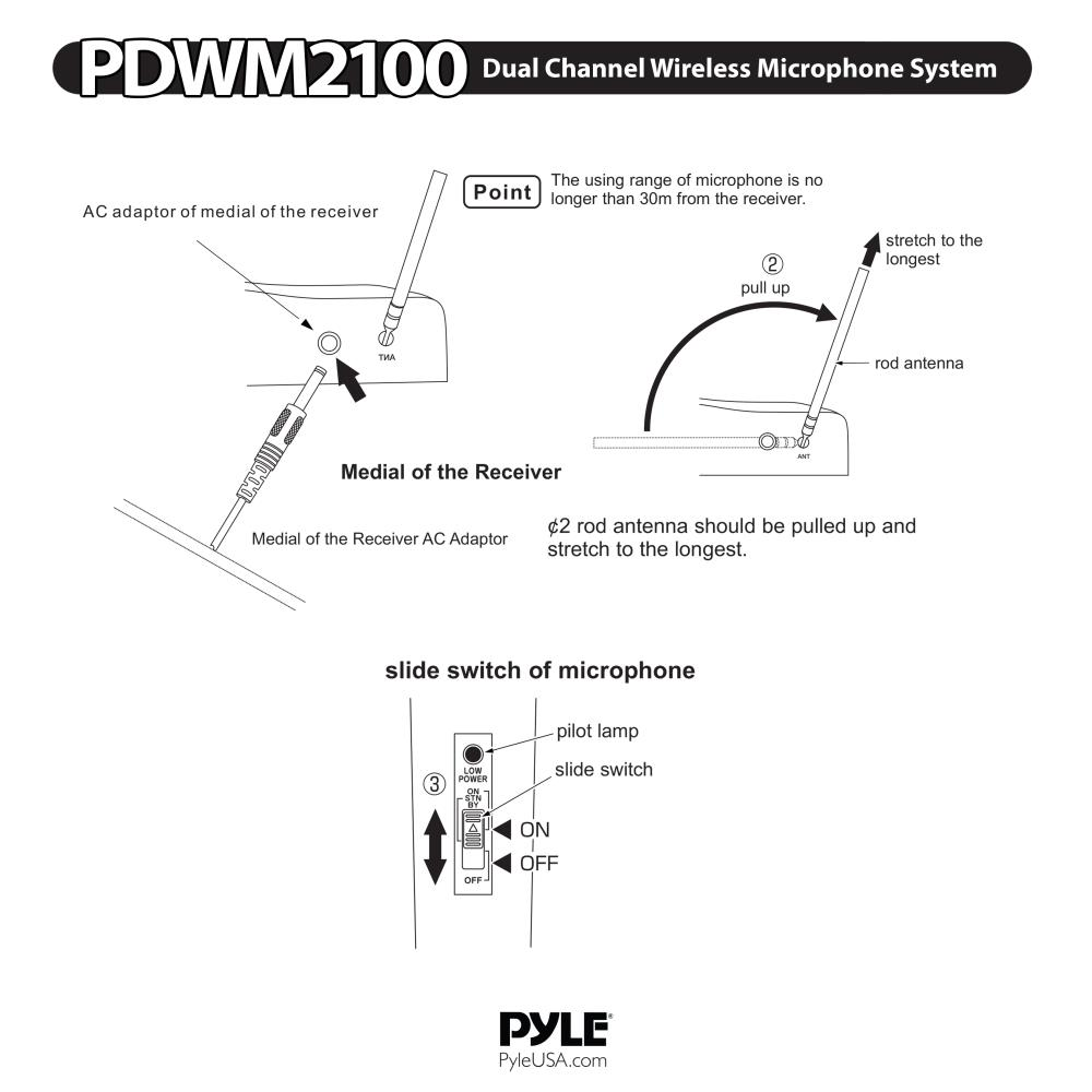 Wireless Microphone Diagram Wiring Library Classroom System Circuit Pyle Pdwm2100 Dual Channel Vhf With 2 Handheld Mics