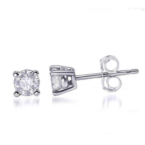 1/2 Carat T.W. Round Diamond Sterling Silver Stud Earrings