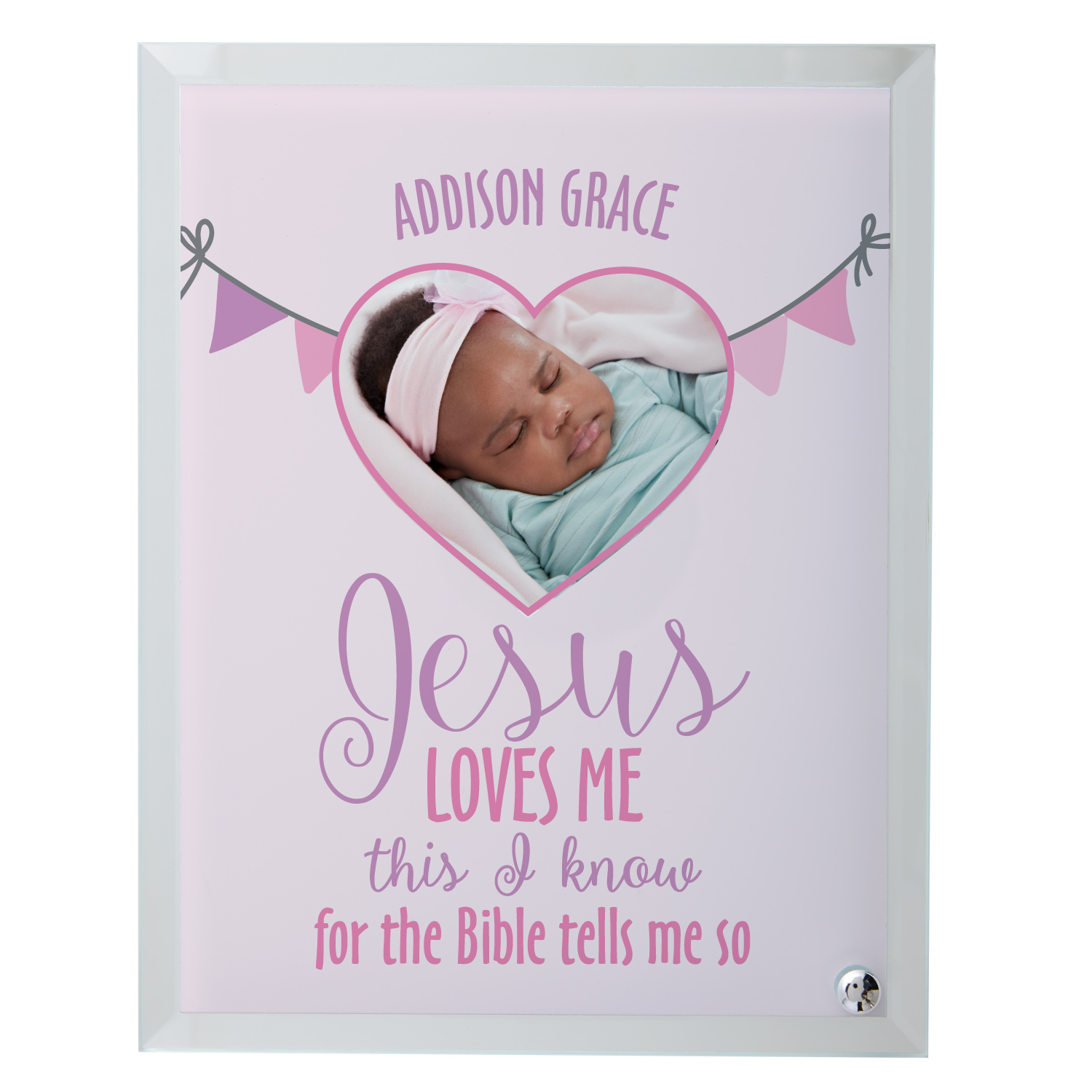 Personalized Jesus Loves Me Glass Photo Frame - Blue