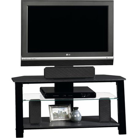 Sauder Beginnings Black Panel TV Stand with Mount for TVs up to 42″