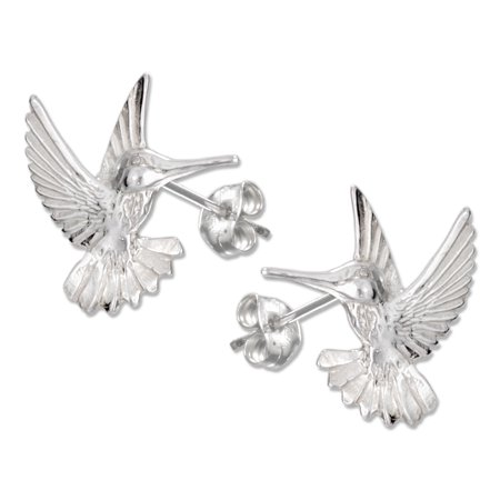 STERLING SILVER HIGH POLISH AND DIAMOND CUT HUMMINGBIRD POST EARRINGS