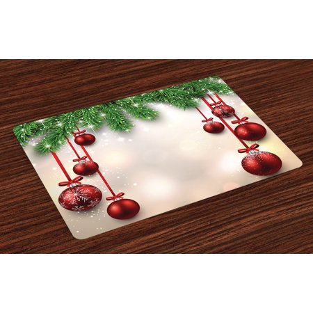 Christmas Placemats Set of 4 Xmas Traditional Winter Season Theme Fir Twigs and Vibrant Balls Graphic Print, Washable Fabric Place Mats for Dining Room Kitchen Table Decor,Green Red, by Ambesonne - Winter Ball Themes
