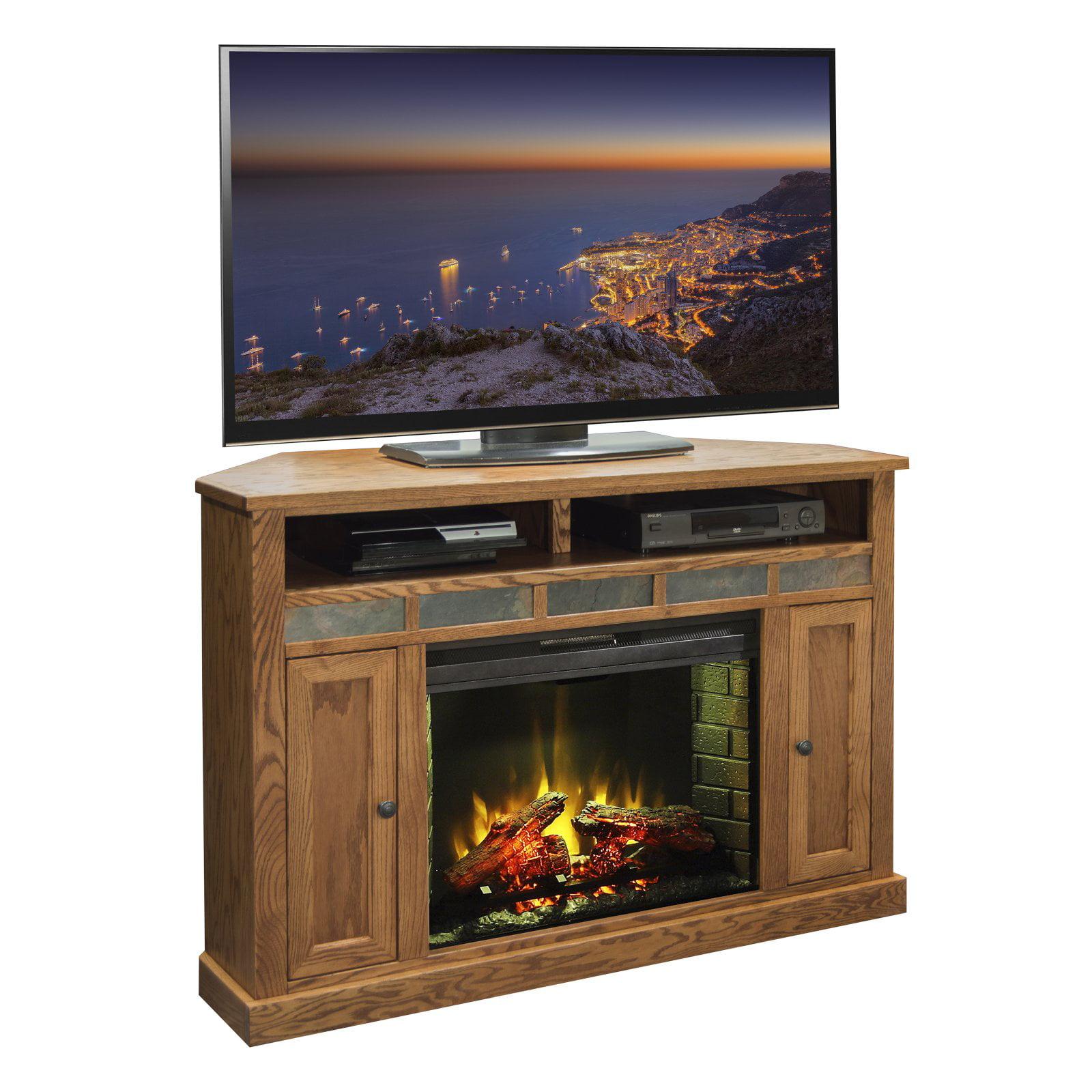 Legends Furniture Oak Creek 56 in. Electric Media Corner Fireplace
