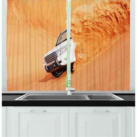 Desert Curtains 2 Panels Set, Suv Truck Pick Up Big Car with Huge Wheels Driving through the Sand Hills Print, Window Drapes for Living Room Bedroom, 55W X 39L Inches, White Yellow, by Ambesonne](The Living Desert Halloween)