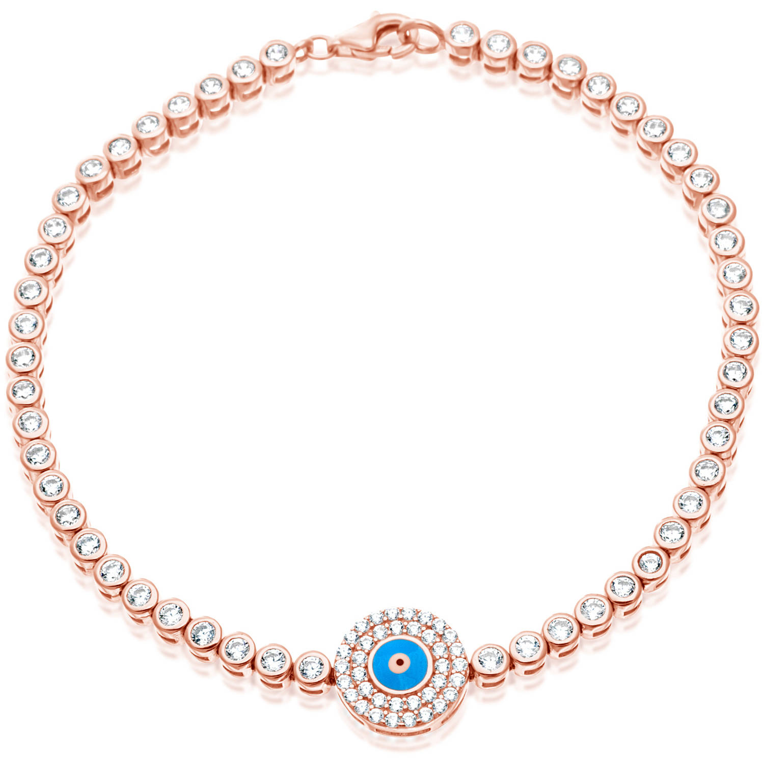 Rose Gold over Sterling Silver Evil Eye Cubic Zirconia Tennis Bracelet, 7.5""