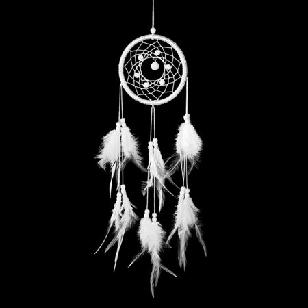 Solid White Feather Decoration Dream Catcher With mini Bell For Car ornaments Home Bedroom Wall Hanging Decor Handicrafts -