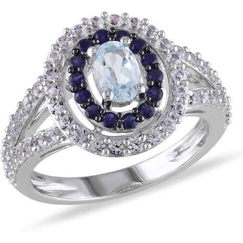 1-3/4 Carat T.G.W. Blue Topaz with Created Blue and White Sapphire Sterling Silver Halo Ring