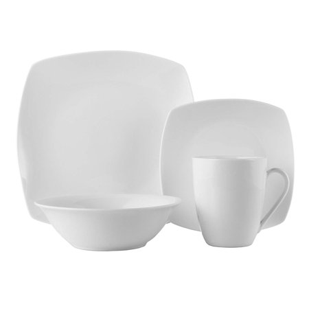 - ROSCHER Dinnerware Dish Set (16-Piece) White, Ceramic Soft Square Dishes | Dinner and Salad Plates, Appetizer Bowls, Drink Mugs | Modern Kitchen Style | Dishwasher Safe
