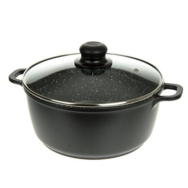 2.5 QT, Silver Glass Lid with Steam Hole Induction Bottom Ultra Non-Stick Stone Finish Extra Thick Gauge By Unity Professional Forged Aluminium Casserole