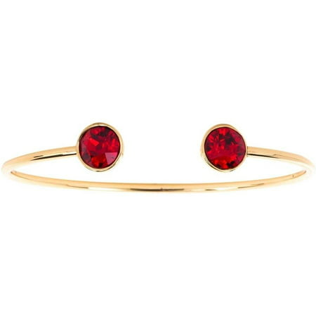 Swarovski Crystal 14kt Gold-Plated Bangle, Available in 12 Birthstones