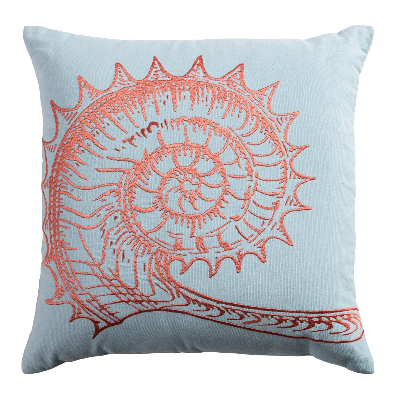 "Rizzy Home Decorative Poly Filled Throw Pillow Seashell 18""X18"" Coral"
