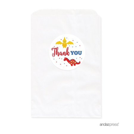 Birthday DIY Party Favors Kit with Thank You Label and White Favor Bags, Red Blue and Yellow Dinosaur Party, 24-Pack](Diy Dinosaur Tail)