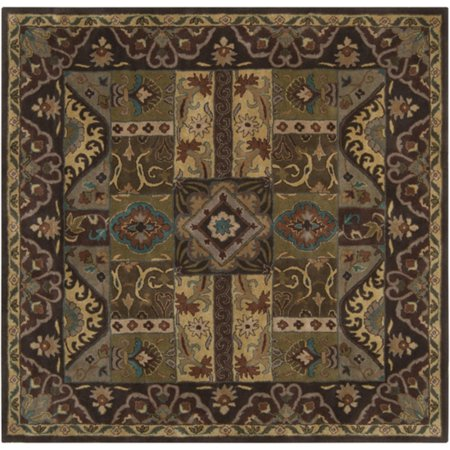 4 39 x 4 39 vitellius teal green and dark brown hand tufted wool area throw rug. Black Bedroom Furniture Sets. Home Design Ideas