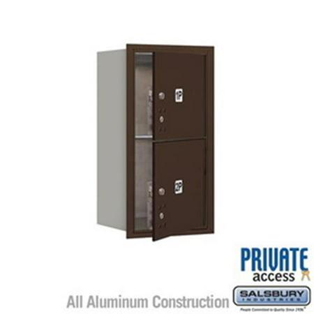 Salsbury Industries 3703S-1PZRU 3 Door High Unit 13 in. Single Column 4C Horizontal Mailbox with Rear Loading USPS 1 PL3 - Stand Alone Parcel Locker, - Rear Column