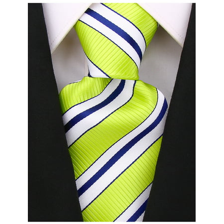 Scott Allan Mens Striped Necktie - Lime Green Mens - Dark Green Polyester Ties