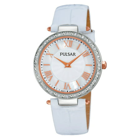 Women's PM2127 Swarovski Crystal-Accented Watch with White Leather Band (Watches Women Pulsera)