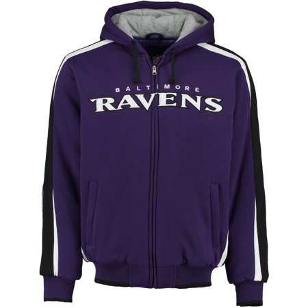 Baltimore Ravens Men's Block Full-Zip Hooded Fleece Jacket - Raven Without Hood