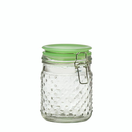 Depression Hobnail - Emma Jade Hobnail Hermetic Preserving Glass Canister, Small, 24 oz