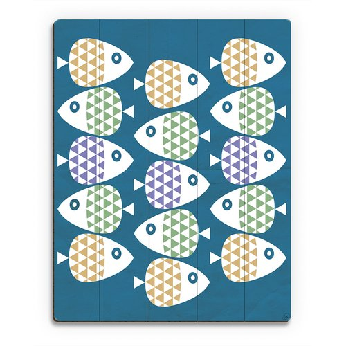Click Wall Art School of Fish Purple Graphic Art on Plaque