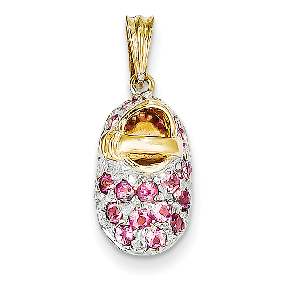 14k Yellow Gold & Rhodium Prong-Set October Pink Tourmaline Baby Shoe Charm K555 by