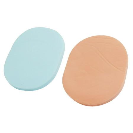 Unique Bargains 2 Pcs Oval Shaped Sponge Powder Puff Facial Face Pad Makeup Tool Women Lady Light Blue Pale Pink
