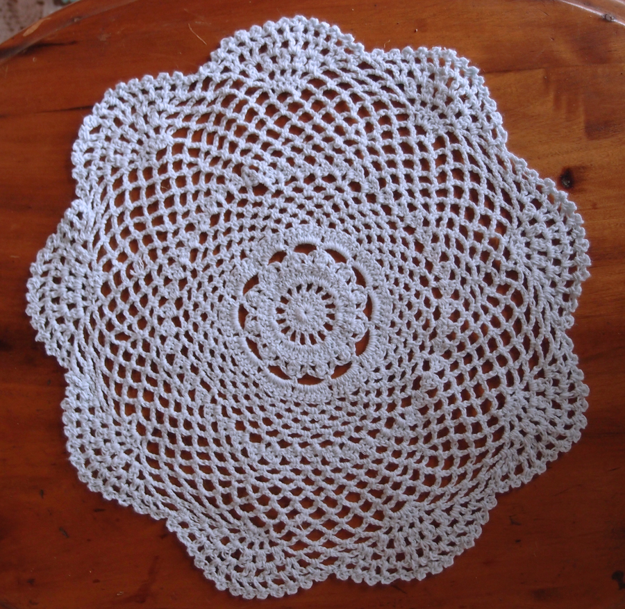 "12"" Round Shaped Crochet Lace Doilies Placemats, Handmade Cotton - White (2 PACK)"