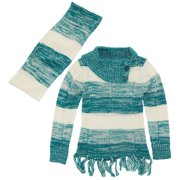 Dollhouse Little Girls Cardigan Sweater with Fringes and O-ring Scarf