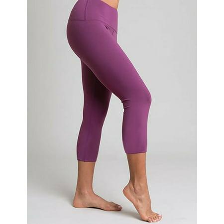 Purple Three-Quarter Legging Yoga Pants - L
