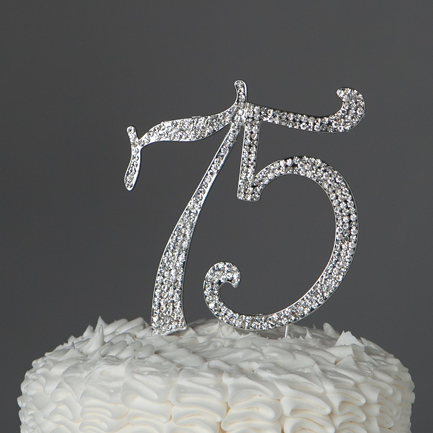 75 Cake Topper For 75th Birthday Or Anniversary Party Crystal