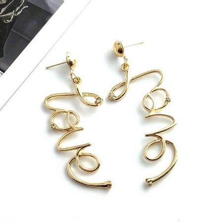 SHIYAO New English Alphabet Earrings Fashion Love Letter Earrings Old English Sheepdog Earrings