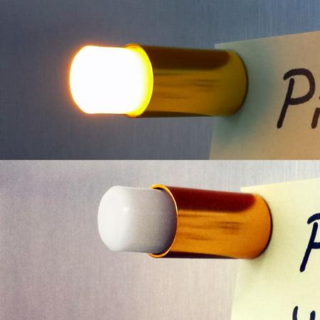 4 Golden Color LED Push Pins, Button Magnets - Cool Fridge