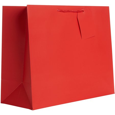 Jillson & Roberts Jumbo Gift Bags, Solid Matte Red (12 Pcs)