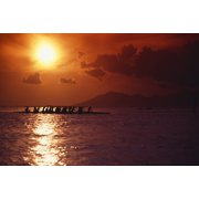 French Polynesia Tahiti Moorea Bora Bora Outrigger Canoeing At Sunset Orange Sky PosterPrint by