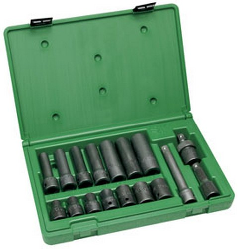 "SK Hand Tools 4050 17 pc. 1/2"" Drive 6 Point Standard and Deep Fractional Impact Socket Set"