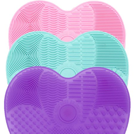 Silicone Butterfly Shape Makeup Brush Cleaner Pad Washing Scrubber Board Cleaning Mat Hand Tool(Pink+Green+Purple) - Butterfly Makeup