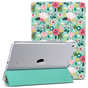 iPad 10.2 Case 2019,Ulak New Slim Lightweight Trifold Smart Shell with Auto Sleep/Wake,Premium Shockproof Translucent Frosted Back Cover Case for iPad 7th Generation 10.2 inch Tablet, Mint Floral