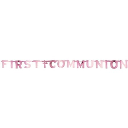 Pink First Communion Letter Banner - First Communion Banner Kits