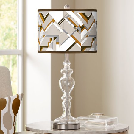 Giclee Glow Craftsman Mosaic Giclee Apothecary Clear Glass Table Lamp