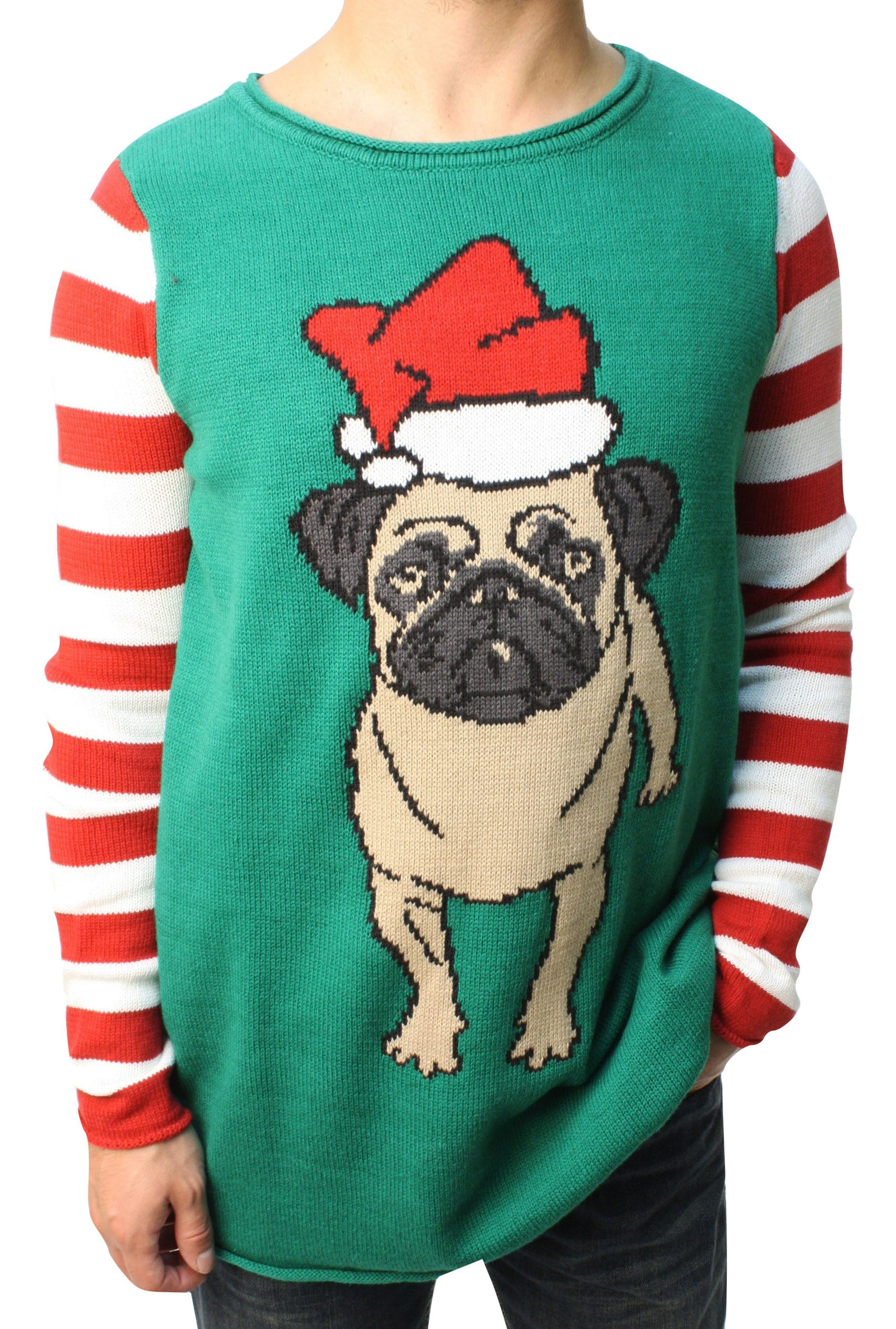 "Ugly Christmas Sweater Funny Teen Boy's Dog ""Pug Life"" Sweater"
