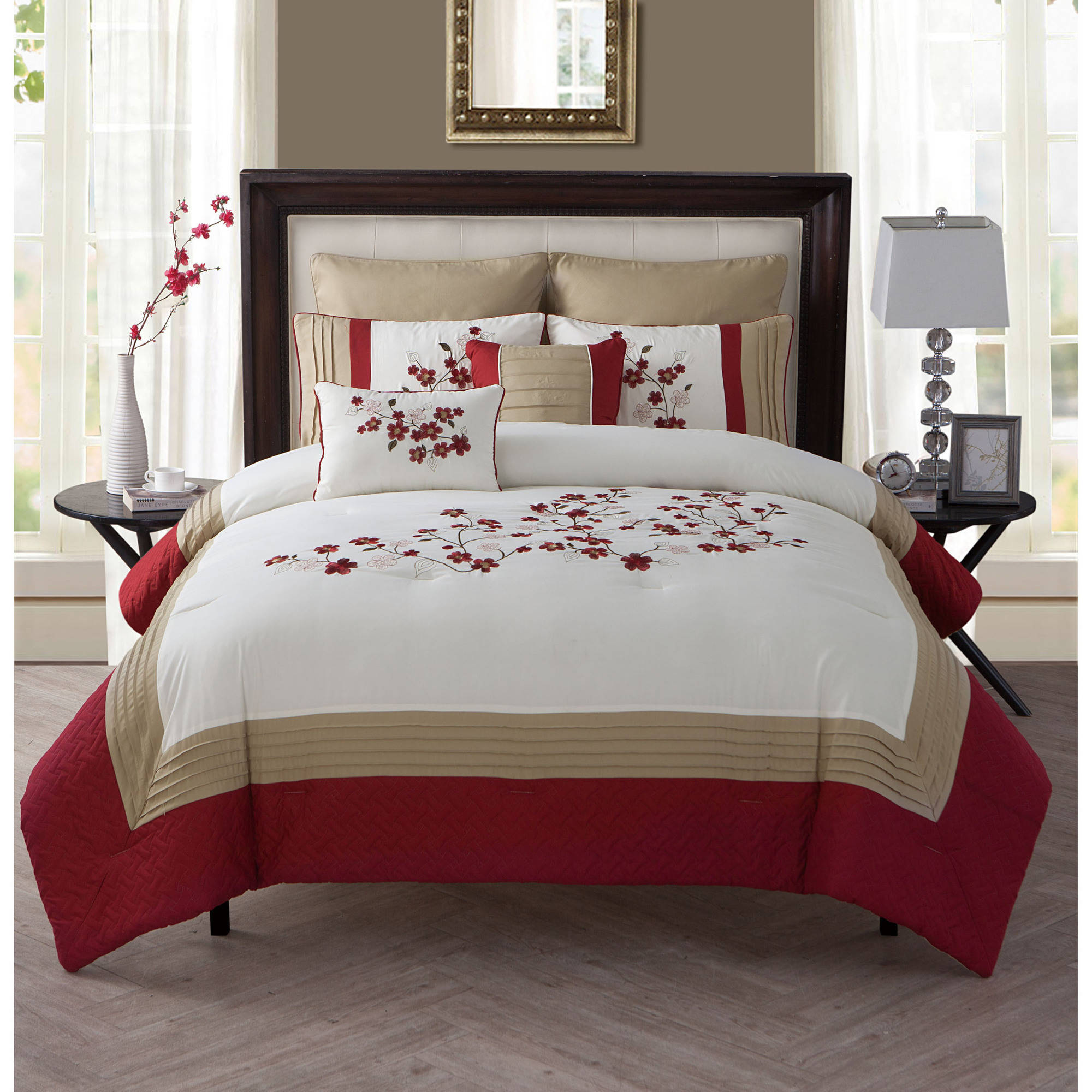 bedroom bedding sets better homes and gardens cherry blossom 7 comforter 10283