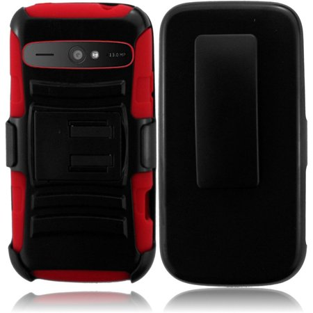 For ZTE WARP SYNC N9515 Side Stand With Holster - Black+Red