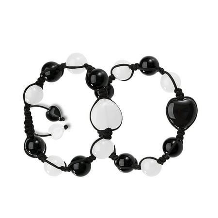 Yin Yang Hearts Energy Love Couples or Best Friends Magic Powers Black Agate White Quartz Gems