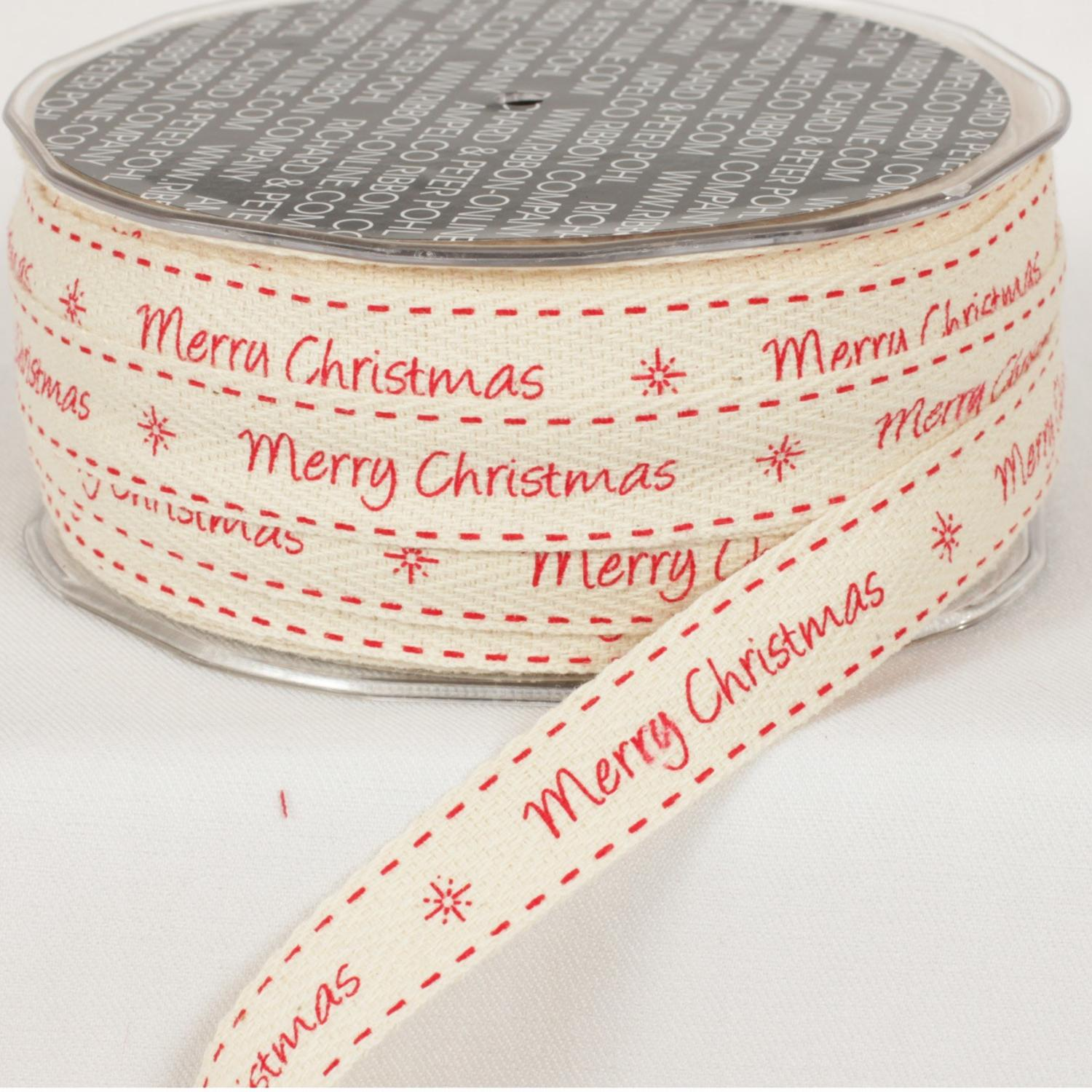 "Cream and Red Merry Christmas Woven Edge Craft Ribbon 5/8"" x 60 Yards"