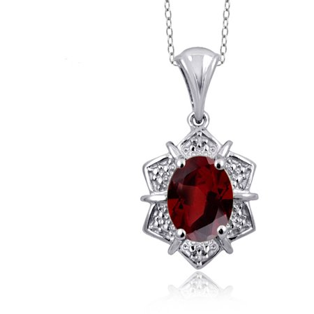 JewelersClub 1.60 Carat Garnet Gemstone and Accent White Diamond Pendant