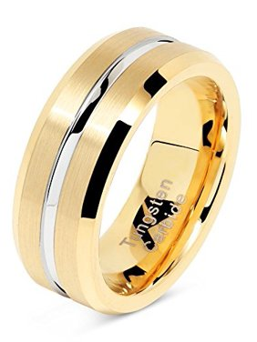Jewelry & Watches Stainless Steel Brown Plated Brushed Center 8mm Wedding Ring Band Size 10.00 Latest Technology