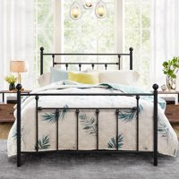 Queen Size Bed Frame, Metal Platform Mattress Foundation/Box Spring Replacement with Headboard Victorian Style