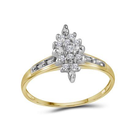 10kt Yellow Gold Womens Round Diamond Marquise-shape Cluster Ring 1/10 Cttw - image 1 de 2