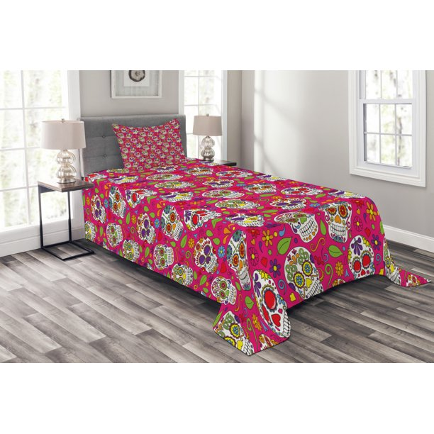 Sugar Skull Bedspread Set Colorful Festive Skulls Leaves Motifs Pirate Cemetery Graveyard Traditional Decorative Quilted Coverlet Set With Pillow Shams Included Multicolor By Ambesonne Walmart Com Walmart Com