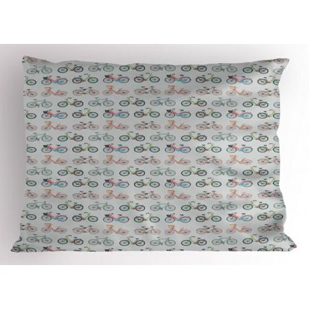 Hipster Pillow Sham Sketch Art Pattern Bicycles Urban Vehicles Transportation Hobby Exercise Fun Ride, Decorative Standard Size Printed Pillowcase, 26 X 20 Inches, Multicolor, by