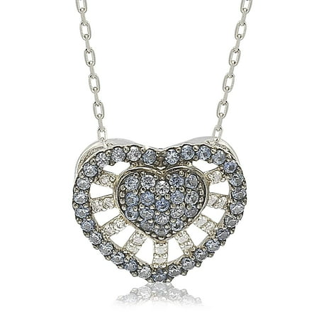 Abstract Heart Necklace - Suzy Levian Sterling Silver Sapphire & Diamond Abstract Heart Necklace